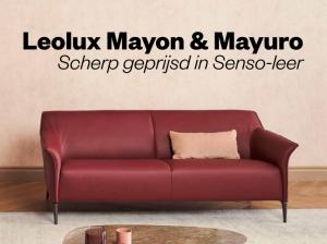 Leolux Mayon en Mayuro in leer Senso scherp geprijsd.